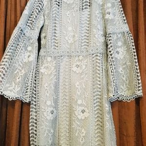 Periwinkle blue bell sleeve lace dress